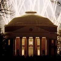 Uva Rotunda with searchlights